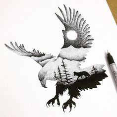 'Double Exposure' Illustrations of the Animal Kingdom in Thousands of Tiny Dots