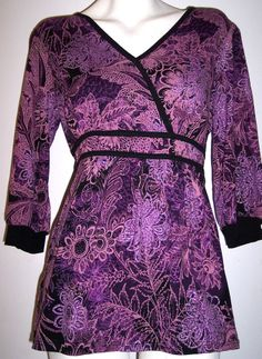 Style & Co Top M Purple Stretch Knit Floral Boho Tunic Blouse Pullover Shirt 38B
