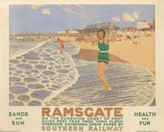 Margate by Charles Pears British Travel, British Seaside, British Isles, Railway Posters, Posters Uk, Train Posters, Nostalgia, Southern Railways, Advertising Poster
