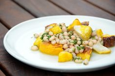 Roasted Patty Pan Squash w/ Herbed White Beans