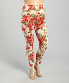 Zenobia Beige Rose Leggings - Plus Beige Leggings, Printed Leggings, Jeans Pants, Plus Size Fashion, Fashion Forward, Cotton Fabric, Pajama Pants, My Style, Pretty