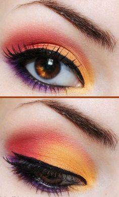 maquillage yeux en été-i dée fraîche en couleurs tropicales