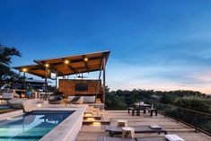 Design / Build in partnership with ROOT Design, Drophouse completed all steel and wood components for this ranch remodel and pool pavilion. Backyard Pool Landscaping, Ranch Remodel, Austin Homes, Ranch Style, House And Home Magazine, Building Design, Pavilion, Villa, Mansions