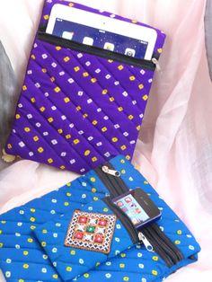 Light blue handmade ethnic bag for iPad & iPhone. iPad sling bag. Cotton handmade iPhone pouch cum iPad tote. Trendy handbag. From Artkrti. by Artikrti on Etsy
