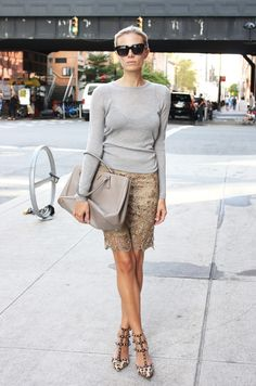 Muted colors : grey sweater, nude lace skirt, Valentino 'Rockstud' leopard print pumps, Prada Safiano Gardener's Tote bag #StreetStyle