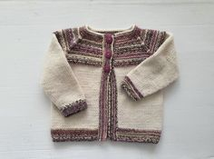 Baby girl sweater 6 - 12 months, hand knit striped cardigan, baby knitwear girls stripey sweater: eye catching red, cream, purple & brown