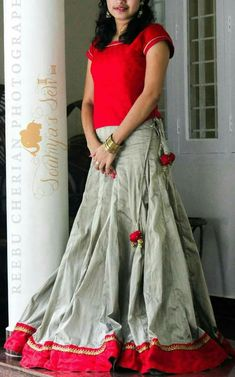 Kerala Saree Blouse, Traditional Skirts, Lehenga Skirt, Long Skirt Outfits, Engagement Dresses, Sharara, Women's Fashion, Fashion Outfits, Half Saree