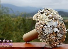 Wedding Brooch Bouquet - Nic's Button Buds - taken at The Riverstone Estate - Coldstream.  In the beautiful Yarra Valley  Gold Silver Bronze Rose Gold