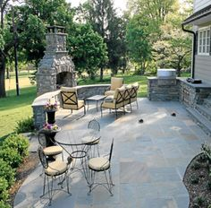"""Blue Stone 1"""" variegated patio floor - Winter Park stone for the Fireplace"""