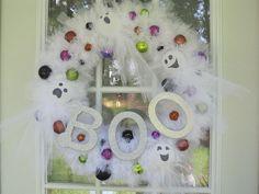 Tulle Ghost Halloween Wreath by MimisVintageGoodies on Etsy