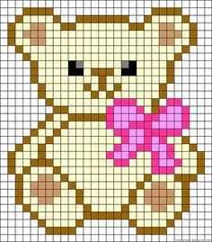 """Teddy bow perler bead pattern """"Pixel ours Teddy"""" Alpha Patterns, Loom Patterns, Beading Patterns, Embroidery Patterns, Crochet Pixel, Crochet Chart, C2c Crochet, Knitting Charts, Baby Knitting"""