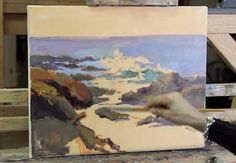 Dee Beard Dean demonstrates how to paint Laguna Beach Seascape - Video Lessons of Drawing & Painting