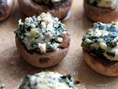 Stuffed mushrooms with spinach and cream cheese. Quick and easy recipe. No stove-top prep for a healthy appetizer any time.