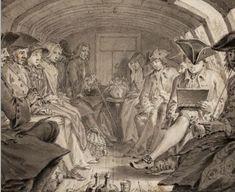 Drawing of interior of a trekschuit on the Haarlemmertrekvaart in 1760.