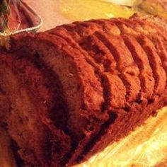Pumpkin Bread III- This recipe has been in my family for generations. It's incredibly delicious with a wonderful spice flavor. Try to use coffee cans to bake them in - makes all the difference in the world! A wonderful Christmas gift.  all purpose flour, sugar, cinnamon, nutmeg, allspice, baking soda, oil and/or applesauce, canned pumpkin, eggs   optional: ground cloves, chopped nuts Allrecipes.com
