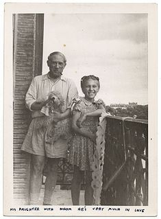 Pablo Picasso, daughter Maya Picasso with dog