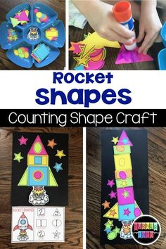 Rocket Shapes Counting Craft for a space themed preschool unit