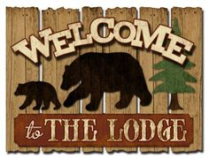 Feel at home when visiting your log cabin with the Welcome To The Lodge wood sign. 'Welcome to The Lodge' reads against a 3 dimensional. Woodworking Guide, Custom Woodworking, Woodworking Projects Plans, Lodge Look, Cabin Signs, Pallet Painting, Outdoor Signs, Detailed Drawings, Christmas Villages