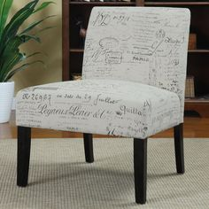 Amazon.com - Coaster Vintage French Script Contemporary Armless Accent Chair - French Writing Fabric Chair  $125