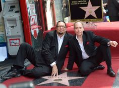 "Not exactly ""actors,"" but Penn and Teller are wonderful entertainers, shown here with their new star on the Hollywood Walk of Fame."