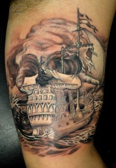 What does pirate tattoo mean? We have pirate tattoo ideas, designs, symbolism and we explain the meaning behind the tattoo. Great Tattoos, Beautiful Tattoos, Tattoos For Guys, Awesome Tattoos, Skull Tattoos, Body Art Tattoos, White Tattoos, Arrow Tattoos, Tatoos