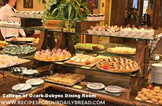 Dobyn's Dining at College of Ozark Branson - While vacationing in Branson, DO NOT miss Sunday Brunch at the Keeter Center, College of the Ozarks.  The food is literally from the farm to the table.  They are well know for their smoked ham, great looking and tasting desserts, omelet station, waffle station, main dish station, and even the student who plays the piano while you eat.  This is truly a Sunday Brunch or dinner at the Keeter Center you will not forget.  #Branson Missouri #branson mo