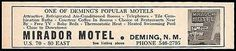 Mirador Motel Ad Deming New Mexico 1964 Roadside Ad AC Phones Tile Baths Travel