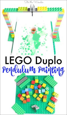LEGO Duplo Pendulum Painting is a fantastic S.T.E.A.M. activity for kids!