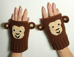 Monkey Fingerless Mittens Animal Fingerless by MsAmandaJayne, $35.00