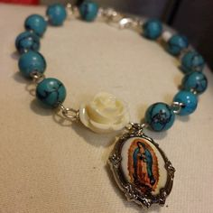 Rosary like Virgen de Guadalupe medal charm bracelet by ElSol