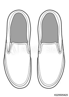Jan 2019 - Slip-on shoes Illustrator vector template - Buy this stock vector and explore similar vectors at Adobe Stock Sneakers Sketch, Shoe Template, Pop Stickers, Flat Sketches, Vans Logo, Mini Canvas Art, Art Worksheets, Outline Drawings, Fashion Design Sketches