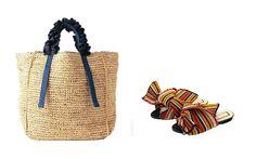 左から「ラドロー」のかごバッグ 3万5000円、「ヌメロ ヴェントゥ―ノ」のサンダル 7万2000円