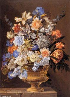 Peinture à l'huile encadrée - 12 x 16 inches / 30 x 41 CM - Jacques Ii Bailly - Bouquet de fleurs...: Amazon.fr: Cuisine & Maison