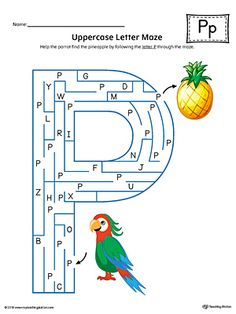 Uppercase Letter P Maze Worksheet (Color) Worksheet.If you are looking for creative ways to help your preschooler or kindergartener to practice identifying the letters of the alphabet, the Uppercase Letter Maze in Color is the perfect activity. Preschool Letter Crafts, Letter Sound Activities, Letter A Crafts, Learning Letters, Preschool Learning, Letter P Worksheets, Maze Worksheet, Homeschool Worksheets, Homeschooling