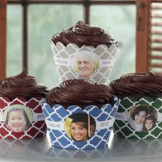 How cool! You can create your own Personalized Photo Cupcake Wrappers for any occasion thanks to PMall! You can pick from 4 colors and add any photo and any 2-line message and they're only $19.95 for a set of 24! #Cupcake #Wrapper