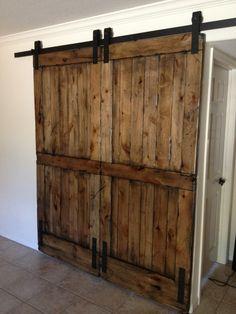 Artistic Barn Style Wood Sliding Door Design Ideas With Rustic Wooden Sliding Barn Door And Brown Tile Flooring Design