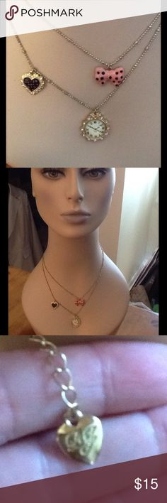 BETSEY JOHNSON CLOCK HEART BOW NECKLACE, NWOT New Without Tags, BETSEY Johnson Clock, heart and bow trio necklace.  Like new, Great gift!  Ships out immediately.  Check out my other designer items Betsey Johnson Jewelry Necklaces