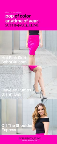 HOT PINK SKIRT from SohoGirl.com / Jeweled Pumps by Gianni Bini at Dillard's / Black Off The Shoulder Knit Top from Express / www.sophiajacqueline.com Beauty + Fashion + Art / Photo by RMFOTO.com