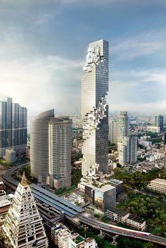 持続可能なデザイン、OMA、オレスケーレン、MahaNakhon、バンコク、タイ、ビジネス街、広場、タワー、多目的、高層