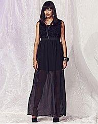 Black gothic romance sheer skirt maxi dress @SimplybeUK