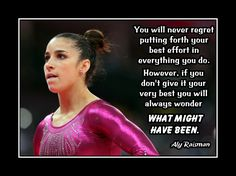 """Gymnastics Motivation Poster Aly Raisman Photo Quote Wall Art 5x7""""-11x14"""" No Regrets Do UR Best Or You'll Always Wonder What Might Have Been by ArleyArt on Etsy"""