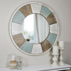 Beach Themed Coastal Mirrors For Your Home. Check out these beautiful beach, nautical and coastal mirrors. Wall mirrors that feature wood, rope, seashells and more ocean themes. Beach Cottage Style, Beach Cottage Decor, Coastal Cottage, Coastal Living, Coastal Decor, Beach Condo Decor, Coastal Farmhouse, Beach Decor Bathroom, Beach Cottage Bedrooms