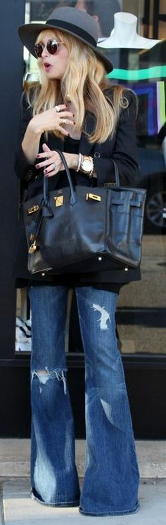 wide leg jeans + birkin + hat (who cares what shoes when they don't show)