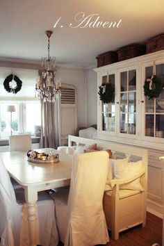 Simple, white, dining room.