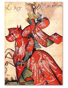 King of Poland in tournamental armour. Miniature from Grand Armorial équestre de la Toison d'or Costume Roi, Art Costume, Costumes, Medieval Times, Medieval Art, Medieval Drawings, Medieval Manuscript, Illuminated Manuscript, Mermaid Tarot