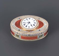A SWISS SPLIT-PEARL SET AND ENAMELLED GOLD MUSICAL SNUFF-BOX WITH WATCH GENEVA, CIRCA 1800