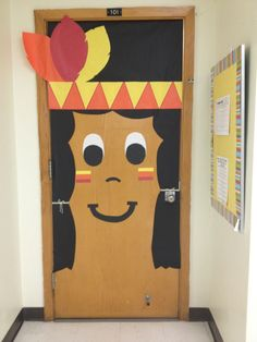 Indian Thanksgiving themed classroom door.