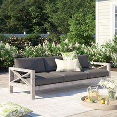 Laurèl Foundry Modern Farmhouse Barden Patio Sofa with Sunbrella Cushions Foundry Modern Farmhouse