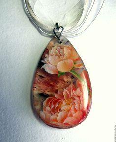 Купить Кулон с росписью Весна - комбинированный, кулон подарок женщине, кулон подарок девушке