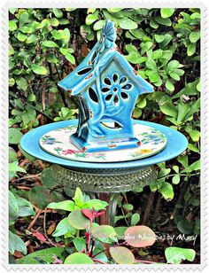 Blue Birdhouse Garden Totem Stake  As Seen by GardenWhimsiesByMary, $35.00